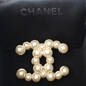 Authentic CHANEL Logo Pearl Brooch